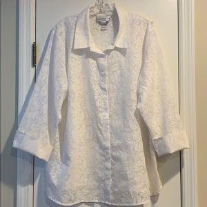 Long flower print button down blouse.